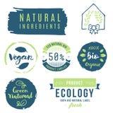 Fresh, organic, gluten free, 100% bio, premium quality, locally. Grown, healthy food natural products, farm fresh stickers. Vector menu organic labels, food Stock Photo