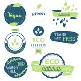 Fresh, organic, gluten free, 100% bio, premium quality, locally. Grown, healthy food natural products, farm fresh stickers. Vector menu organic labels, food Stock Photography