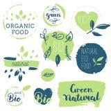 Fresh, organic, gluten free, 100% bio, premium quality, locally. Grown, healthy food natural products, farm fresh stickers. Vector menu organic labels, food Royalty Free Stock Image