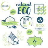 Fresh, organic, gluten free, 100% bio, premium quality, locally. Grown, healthy food natural products, farm fresh stickers. Vector menu organic labels, food Stock Image