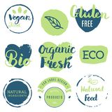 Fresh, organic, gluten free, 100% bio, premium quality, locally. Grown, healthy food natural products, farm fresh stickers. Vector menu organic labels, food Stock Photo