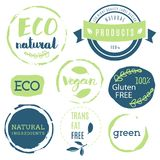 Fresh, organic, gluten free, 100% bio, premium quality, locally. Grown, healthy food natural products, farm fresh stickers. Vector menu organic labels, food Royalty Free Stock Photos