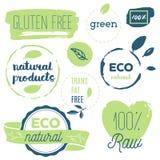 Fresh, organic, gluten free, 100% bio, premium quality, locally. Grown, healthy food natural products, farm fresh stickers. Vector menu organic labels, food Royalty Free Stock Photos