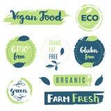 Fresh, organic, gluten free, 100% bio, premium quality, locally. Grown, healthy food natural products, farm fresh stickers. Vector menu organic labels, food Royalty Free Stock Photo