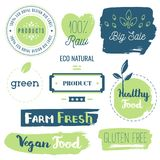 Fresh, organic, gluten free, 100% bio, premium quality, locally. Grown, healthy food natural products, farm fresh stickers. Vector menu organic labels, food Royalty Free Stock Images