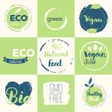 Fresh, organic, gluten free, 100% bio, premium quality, locally. Grown, healthy food natural products, farm fresh stickers. Vector menu organic labels, food Stock Photos