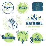 Fresh, organic, gluten free, 100% bio, premium quality, locally. Grown, healthy food natural products, farm fresh stickers. Vector menu organic labels, food Royalty Free Stock Photography