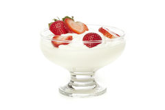 Fresh Organic Greek Yogurt with strawberries Royalty Free Stock Photos