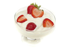 Fresh Organic Greek Yogurt with strawberries Royalty Free Stock Images