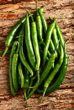 Fresh organic green chili peppers Stock Images