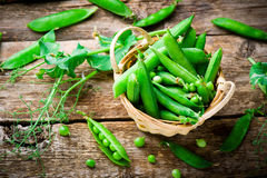 Fresh, organic green peas. Selective focus Stock Images