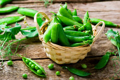 Fresh, organic green peas. Selective focus Royalty Free Stock Photography
