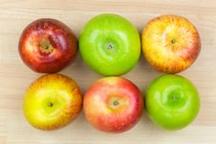 Fresh organic green red Apple varieties, Granny Smith, Fuji, Gal Stock Photos