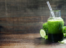 Fresh organic green smoothie - detox, diet and healthy food conc Royalty Free Stock Photo