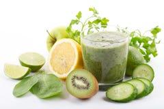 Fresh organic green smoothie. With spinach, kiwi, apple, lemon Royalty Free Stock Image