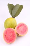 Fresh organic guava fruit  slices with leaf. Royalty Free Stock Images