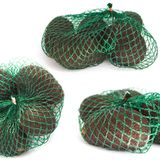 Fresh organic hass avocados in a green string bag on a white background isolated, food collage, copy space royalty free stock photography