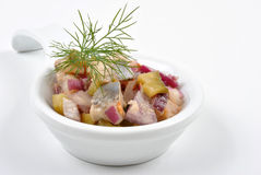 Fresh organic herring salad. Some fresh organic herring salad in a bowl stock photo