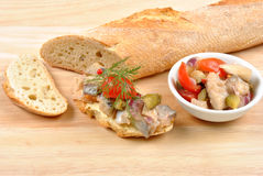 Fresh organic herring salad. And some bread stock photos