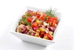 Fresh organic herring salad in a bowl. Some fresh organic herring salad in a bowl stock photography