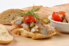 Fresh organic herring salad on bread. Some fresh organic herring salad on bread royalty free stock images