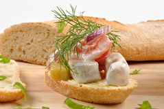 Fresh organic herring salad on bread. Some fresh organic herring salad on bread stock photo