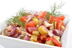 Fresh organic herring salad with tomato. Some fresh organic herring salad with tomato royalty free stock photos