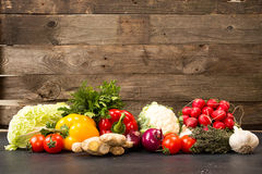 Fresh Organic Homegrown Vegetables In Blue Wooden Box Stock Photos