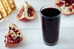 Fresh organic juice made from pomegranate seeds. royalty free stock photo