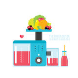 Fresh organic juice smoothie bottle and Kitchen appliance Juicer Blender Stock Photo
