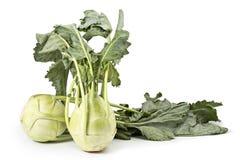 Fresh organic kohlrabi. Isolated on white Royalty Free Stock Photos