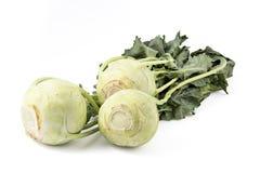 Fresh organic kohlrabi. Isolated on white Royalty Free Stock Photography