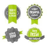 Fresh Organic Label Vector farm eco green sticker Stock Photo
