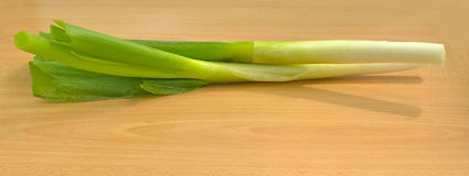 Fresh organic leek. Farm fresh organic leek, spring salad ingredient on wooden table, selective focus Royalty Free Stock Photo