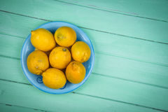 Fresh organic lemons on table Royalty Free Stock Image