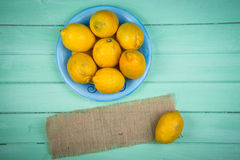 Fresh organic lemons on table Royalty Free Stock Photo