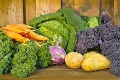 Fresh organic market vegetables on wooden background Stock Photography