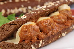 Fresh organic meatballs sandwich. Organic meatballs made with beef and some oats not to much to give perfect consistency with out  putting unwanted fats Royalty Free Stock Photo