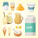 Fresh organic milk products set with cheese.  Stock Image