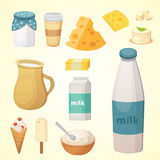 Fresh organic milk products set with cheese.  Stock Photography
