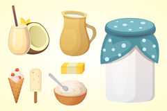 Fresh organic milk products set with cheese.  Stock Images