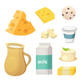 Fresh organic milk products set with cheese, butter, coffee, sour cream and ice cream. Fresh organic milk products set with cheese, butter, coffee, sour cream Royalty Free Stock Images