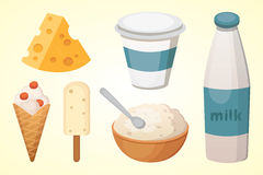 Fresh organic milk products set with cheese, butter, coffee, sour cream and ice cream. Fresh organic milk products set with cheese, butter, coffee, sour cream Royalty Free Stock Photo