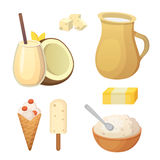 Fresh organic milk products set with cheese, butter, coffee, sour cream and ice cream. Royalty Free Stock Photos