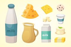 Fresh organic milk products set with cheese.  Stock Photos