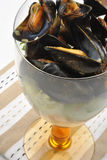 fresh organic mussel in garlic butter Stock Photography