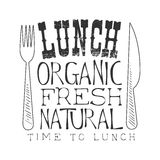 Fresh Organic Natural Cafe Lunch Menu Promo Sign In Sketch Style, Design Label Black And White Template Stock Images