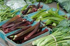 Fresh organic okra Stock Photo