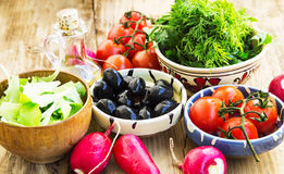 Fresh Organic Olives, Greens, Radish and Cherry Tomatoes in Bowl Royalty Free Stock Images