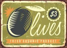 Fresh organic olives retro sign royalty free illustration